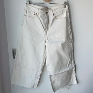 AEO cropped wide leg white jeans